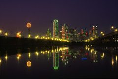 DALLAS skyline reflected