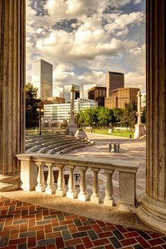 DENVER greek theater and skyline