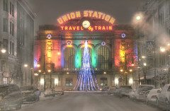 DENVER union station holiday snowstorm