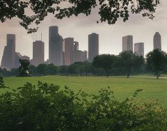 HOUSTON hazy morning skyline