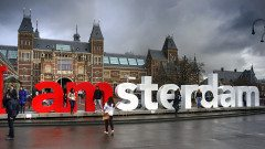 AMSTERDAM Sign And The Rijksmuseum