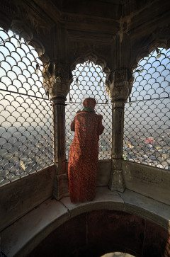 INDIA DELHI Woman In Minaret Of Mosque