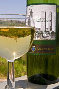 ITALY San Gimighano Wine with Namesake Reflected in Glass