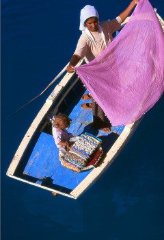 TURKEY Woman In Boat Selling Textiles